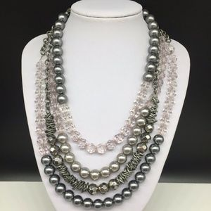 Ann Taylor Loft Gray Faux Pearl Statement Necklace